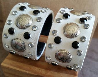 WHITE LEATHER CUFF Bracelet with Black Crystal Bling Studs + Silver Conchos. Small Girls, Women's Size. Cowgirl Rhinestone Wristband