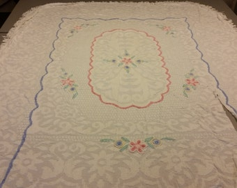 Large Vintage Chenille Bedspread. AS IS. Pink, Green, Blue