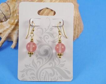 Pink Earrings, Gold, Cherry Quartz Earrings, Gold Ear Wires, Pink, Sundance Style, Boho, Funky, USA, Handmade by RosebudsGlitter