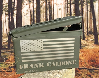 Personalized 50. Cal Ammunition Box /Groomsman Gifts/Best Man Gifts/Hunter Ammo Box/Unique Gifts for Men