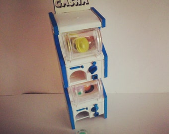 """Dollhouse miniature real working toy vending """"gashapon"""" machine, 1/12 scale"""