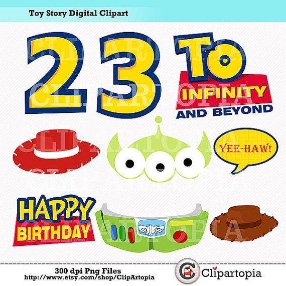 T Story Digital Clipart DIY Toy Party Printables Photo Props