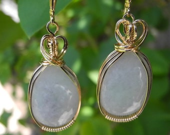 Jade Dangle Earrings Wire Wrapped in Gold to Attract Good Luck and Friendship