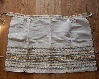 Vintage Soviet Linen Apron, Ladies Half Apron, Collectible, Cooking / Cleaning Apron, Folk Art