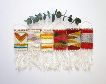 Mini Woven Wall Hangings / Perfect as an ornament, car hanging, bag hang or as wall art / Made in the UK