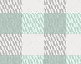 Mint and Gray Buffalo Check Organic Fabric - By The Yard - Boy / Girl / Neutral