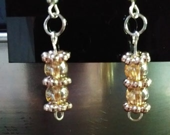 Amber Beaded Dangle Earrings