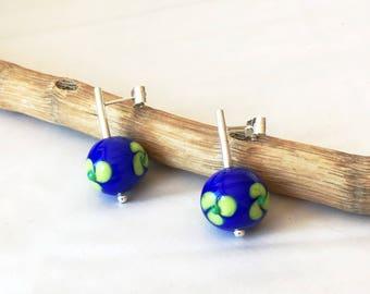 Blue and green lampwork earrings. Murano glass earrings. Silver and glass earrings. Flower glass earrings. Lampwork jewelry. Glass jewelry.