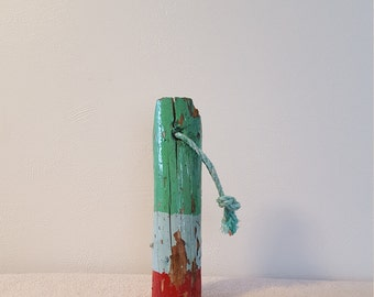 """Vintage 14.5"""" Tall Weathered Wooden Buoy Rustic Lake Beach Nautical Shabby Chic Cabin Chippy Paint Decor"""
