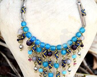 Cobalt Blue Choker necklace,Afrocentric Choker necklace,Beaded African Choker Necklace