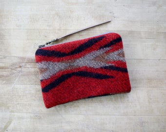 Wool Wallet / Coinpurse / Zipper Pouch in Red, Black, Brown, Tan Tribal, Aztec, Southwestern, Native American Print