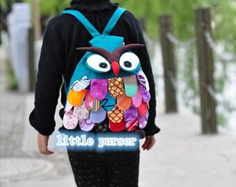 NEW Handmade Owl Backpack Bag Patchwork