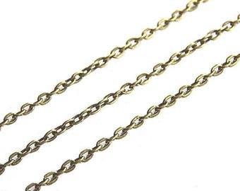 1 meter bronze fine chain stitch 3x2mm oval