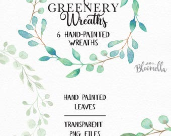 6 Watercolour Leaf Wreaths Clipart - Pretty Hand-painted Garlands Clip Art INSTANT DOWNLOAD PNGs Wedding Individual Files Leaves Digital Art