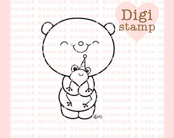 Birthday Friends (bear and frog) Digital Stamp for Card Making, Paper Crafts, Scrapbooking, Invitations, Stickers, Coloring Pages