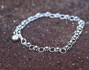 Flower Bracelet, Flower Girl Gift, Silver Bracelet, Friendship Bracelet, Sterling Silver Bracelet, Silver Jewellery