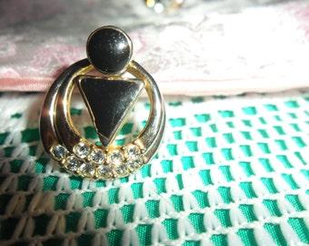 Authentic Vintage Art Deco Nouveau Black Enamel Rhinestone Earrings
