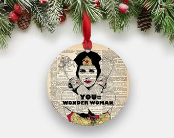 Wonder Woman Holiday Ornament, Round Aluminum Circle Hanging Christmas Tree Ornament, Inspirational Gifts for Coworkers Boss Teacher Gifts