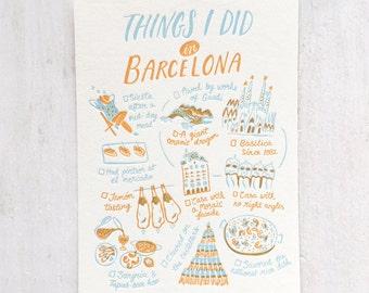 Things I Did in Barcelona Letterpress Postcard