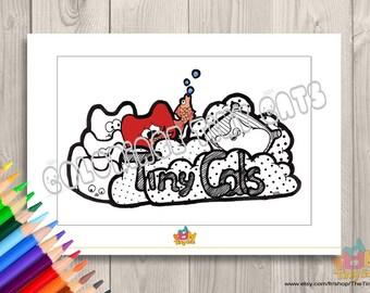 Coloriage imprimable A5/coloriage fun et détente/digital coloring/doodle coloring/Digital fun cat coloring/Dessin fait à la main