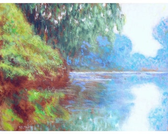 oil painting // quiet lake // artistic work of art // hand-painted impressionism monet interpretation art