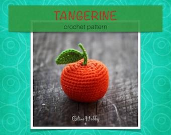 TANGERINE Crochet Patterns PDF - Crochet tangerine pattern Amigurumi tangerine pattern Crochet fruits patterns Amigurumi Play Food Tangerine