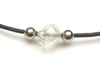 Clear Quartz Square Surfer Leather Necklace - S059