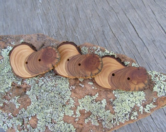 "3 big long buttons- pretty tree rings handmade wooden buttons 2.25"" x 1.5"" (5036)"