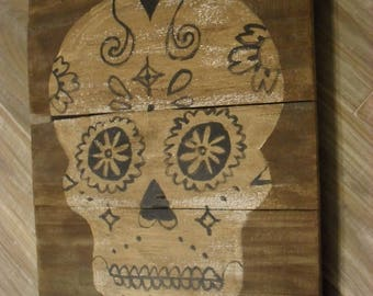 Hand Painted Reclaimed Wood Day of the Dead Sugar Skull Halloween Wall Art Decor Sign Gothic