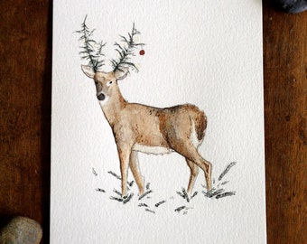 Howell Deer - 5x7 original watercolor illustration