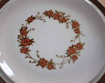 Vintage GARLAND Brown Orange Flower Dinner PLATE Sierra Stoneware Japan