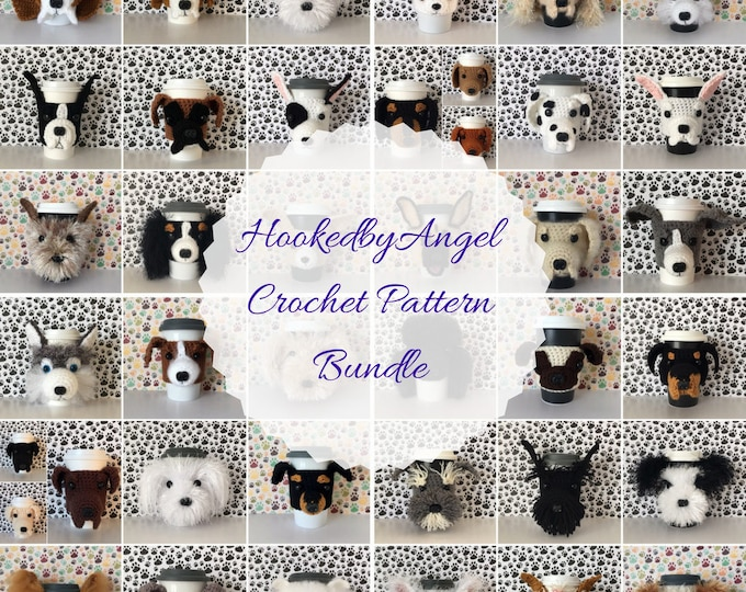 Featured listing image: Crochet Dog Pattern, Dog Mug Cozy Crochet Pattern, Amigurumi Pattern, Dog Crochet Pattern, Crochet Pattern Dog, Amigurumi Dog, PDF File