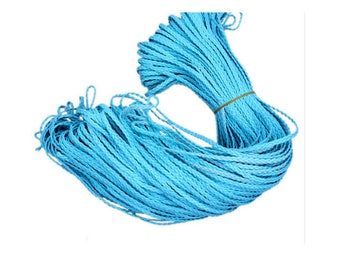 Braided faux leather blue 50 cm