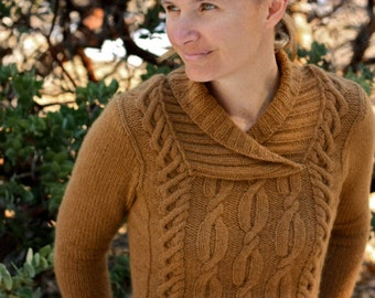 Knitting Pattern PDF- Cabled Shawl Collar Elia Pullover