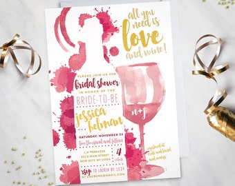 All you need is love & wine - Bridal Shower Invitation  (Digital file)