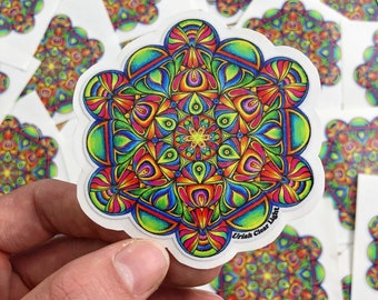 "Hand Drawn Metatron's Cube Mandala Sticker - Sacred Geometry Sticker - Psychedelic Sticker - Laptop Sticker - Aprox. 3""X3"""