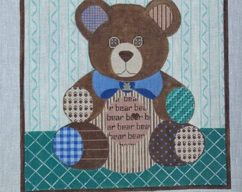 ts Patchwork Teddy Bear 18 count Needlepoint Canvas FREE Shipping USA