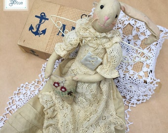 Vintage Cream Bunny Rabbit - Handmade Animal Childrens Toy - Rabbit Doll Toy - Beige Vintage Lace Dress Decorative Rabbit - Daisies Blue