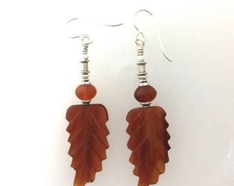 Buffalo Horn Hand Carved Bead Earrings  d