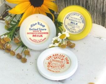 Refrigerator Magnets, Kitchen Magnets, Vintage Milk Bottle Cap Magnets, Set of 3, Farmhouse Kitchen Decor, White and Yellow