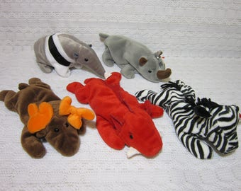 Collectible Ty Beanie Babies - Chocolate The Moose, Grunt the Razorback, Ziggy The Zebra, Spike The Rhinoceros and Ants The Anteater