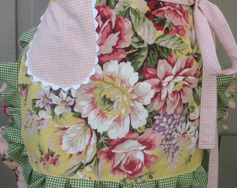 Aprons - Womens Pink Rose Aprons - Yellow Rose Aprons - Shabby Chic Aprons - Annies Attic Aprons - Etsy Aprons - Cottage Chic Aprons - Apron