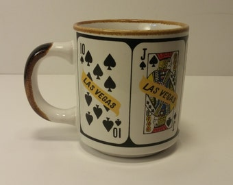 Vintage 1960s LAS VEGAS Royal Flush Souvenir Coffee Mug, Tea Mug, Coffee Cup, Tea Cup - Gambler Gift, Casino Lover
