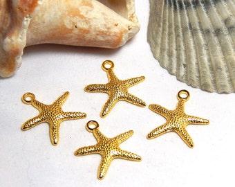 4 Starfish Charms, Ocean Charms, Gold Starfish Charm, Beach Charms, Starfish Pendants, Beach Pendants, Starfish Charms, Ocean Charms, A-40