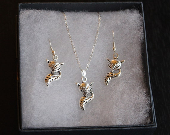 Silver Earring and Necklace Fox Set