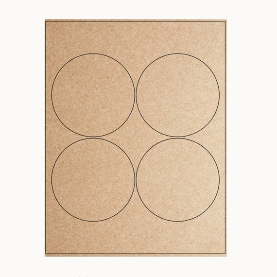 Blank or Custom Printed Circle Stickers- 3.9 inches in Kraft Brown, Cream  or White - Set of 4 labels per sheet from leboxboutique on Etsy Studio