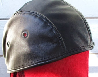 Black Lambskin Leather Bikers Skullcap/ Doorag Pirate Cosplay Leather Pride, Mens Large Size