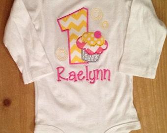 Pink and Yellow Birthday Cupcake Shirt or Baby Bodysuit
