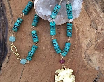 Arrowhead Necklace | Turquoise Necklace | Ruby Necklace | Chalcedony Necklace | Tribal Necklace | Bohemian Necklace