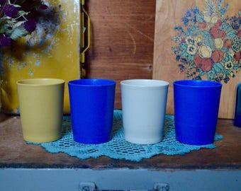 Vintage Set of 4 Blue Yellow Cream Tupperware Original Cups Plastic Tumblers Small